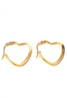 Stainless Gold Flat Hoop Medium Earrings