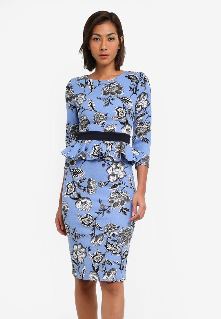 Quarter Goddiva Three Sleeved Dress Blue Floral Print Peplum Floral Midi nExHf0wqq