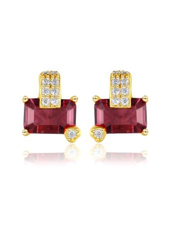 SUNRAIS gold High quality Silver S925 gold simple design earrings B861DAC94B69D9GS_1