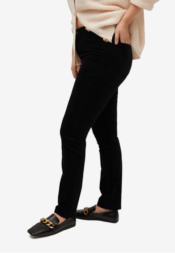 Violeta by MANGO black Plus Size Slim Fit Corduroy Trousers 799E4AA4A31745GS_1