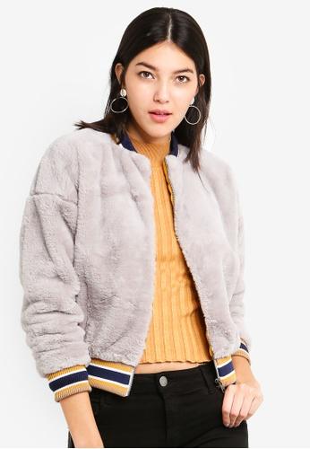 Cotton On grey Brooklyn Faux Fur Bomber A0DD1AAFBA6F17GS_1