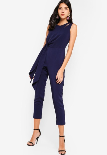 e4421c39f646 Lavish Alice navy Tapered Jumpsuit With Draped Side Tie Detail  BFFA1AA2EE3056GS 1