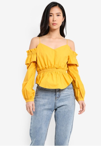 ZALORA yellow Cold Shoulder Top with Smocking Details C18A5AA71CCB32GS_1