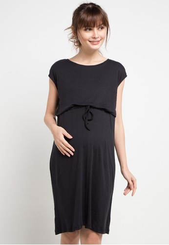 La Karina black Maternity Nursing Casual Dress D9D92AAA77A113GS_1