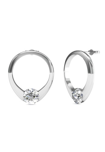 Her Jewellery white and silver Mini Ring Earrings - Anting Crystal Swarovski by Her Jewellery HE210AC0FSQZSG_1