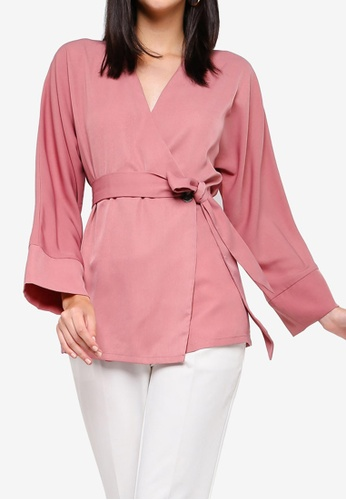 ZALORA pink Long Sleeves Self Tie Top 60C1FAA3E4B10CGS_1