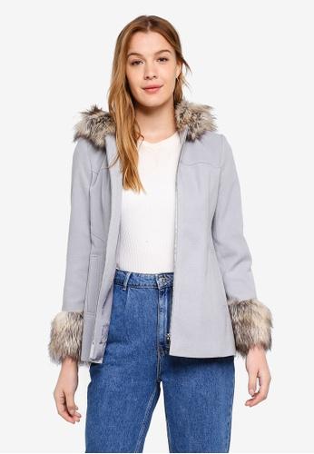 58cb3c81039 Buy Miss Selfridge Petite Grey Duffle Coat Online on ZALORA Singapore