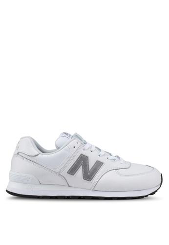 New Balance grey 574 Lifestyle Leather Shoes C4D40SH7D44424GS_1