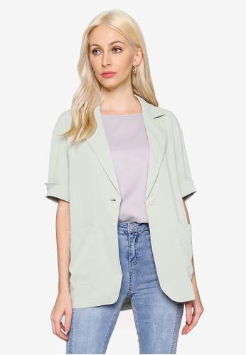 Hopeshow green Single Button Elbow Sleeve Jacket 86327AA32A24A5GS_1