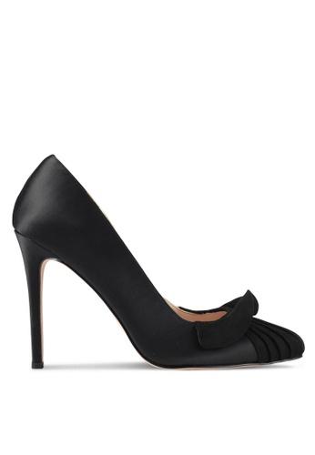 Velvet 黑色 綢緞條紋拼接荷葉邊細跟高跟鞋 67160SHCDB3D1BGS_1