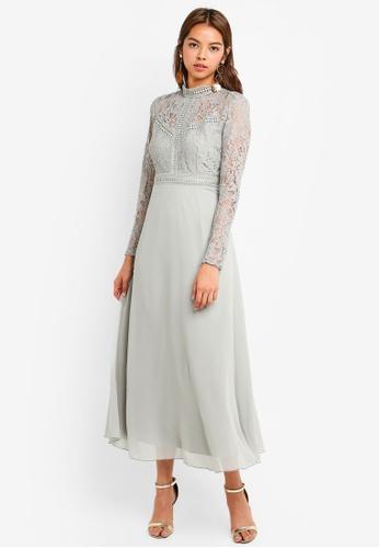 Little Mistress green Lace Panel Maxi Dress 2A8C0AACB010D4GS_1