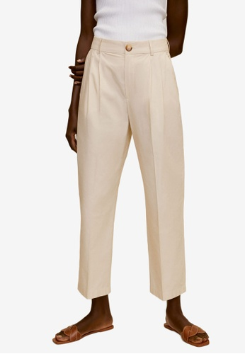 Mango beige Cotton Pleated Trousers 25A26AA3C3C464GS_1