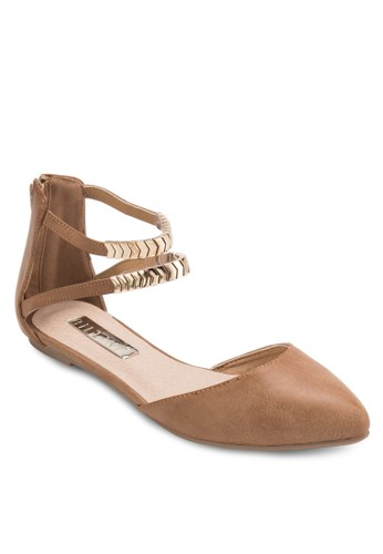 Finland esprit taiwan雙踝帶包跟平底涼鞋, 女鞋, 鞋