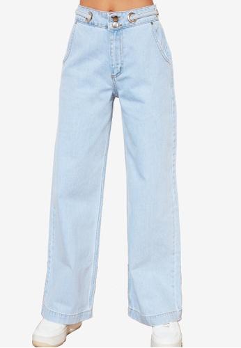 Trendyol 藍色 High 腰圍 闊管裁剪 牛仔褲 1A414AA3210C15GS_1