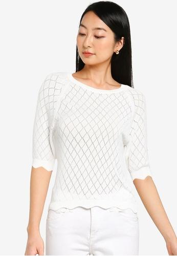 KOTON white Diamond Knit Sweater C8A47AA60FFED8GS_1