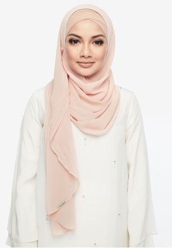 Naelofar for ZALORA orange Claudia Instant Shawl 125C2AA16D8CEDGS_1