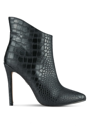 LOST INK black Daphne Textured Stiletto Boots LO238SH0SCMIMY_1
