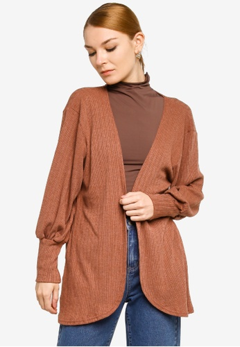 Gene Martino brown Bishop Sleeve Cardigan 86638AA4F23774GS_1