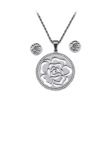 Glamorousky white Fashion and Elegant Hollow Rose Geometric Round 316L Stainless Steel Necklace and Stud Earring Set with Cubic Zirconia EEBCDAC9410F3DGS_1