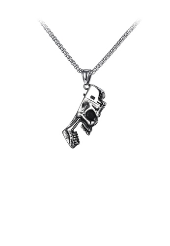 Glamorousky silver Fashion Personality Skull 316L Stainless Steel Pendant with Necklace D521DAC601BD86GS_1