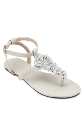 Occasion 花飾夾趾平底esprit童裝門市涼鞋, 女鞋, 鞋