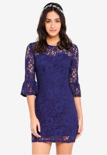 ZALORA navy Bridesmaid Sweetheart Neck Lace Dress C45C2AA746E339GS_1