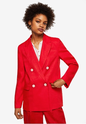 Mango red Structured Linen Jacket ED7C2AA2D320D6GS_1