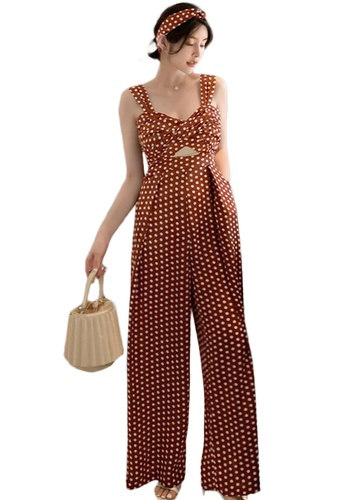 Sunnydaysweety brown Retro Polka-Dot High-Waist Wide-Leg Jumpsuit A21022260 EC547AAF8BE6F1GS_1