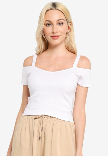 Brave Soul white Crop Cold Shoulder Rib Top C1B60AA0743F2AGS_1