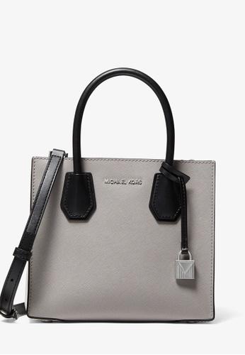 MICHAEL KORS grey Michael Kors Mercer Medium Color-Block Saffiano Leather Accordion Crossbody Bag - Grey/White 1B6D7AC0D843E5GS_1
