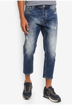 Solid blue Frank Cropped Stretch Distressed Slim Fit Jeans  68346AAFE2D0DCGS_1
