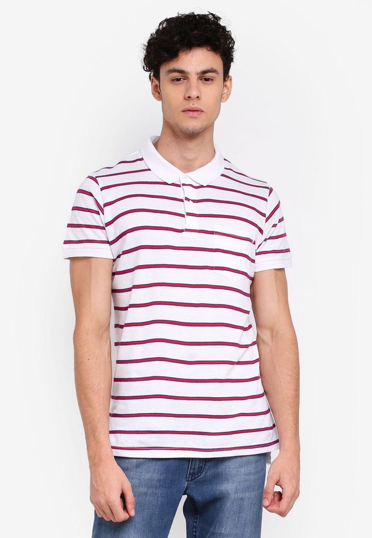 Icon Cotton White Shirt Stripe Blue Red On Polo FEcrUTWvqF