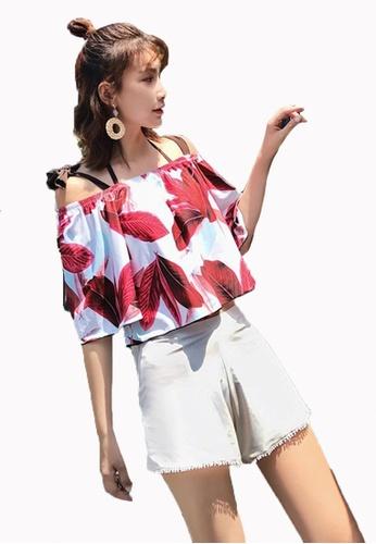 Halo 紅色 (4件套) 印花泳衣比堅尼套裝連沙灘褲 96B81US14CD57FGS_1