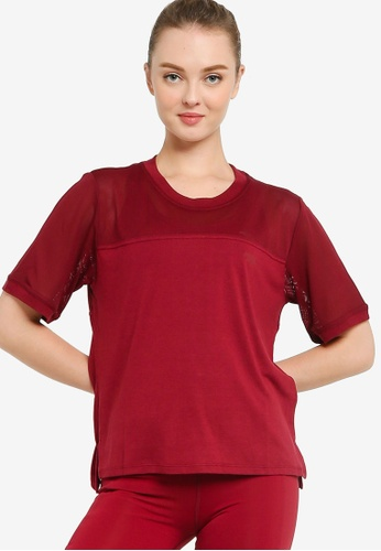 Running Bare red Mesh With Me Cropped Tee 67CBAAA4877D42GS_1