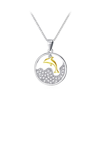 Glamorousky white 925 Sterling Silver Fashion Simple Golden Dolphin Geometric Round Pendant with Cubic Zirconia and Necklace 3B39AAC91CD5FCGS_1