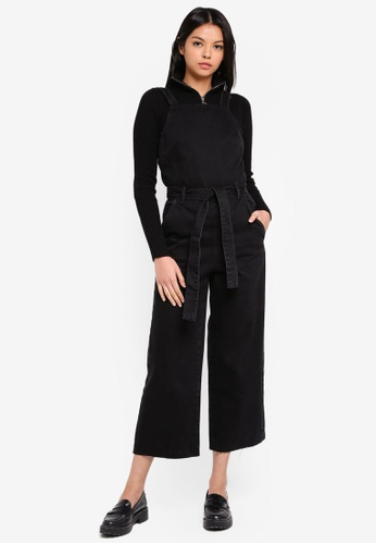 TOPSHOP 黑色 Belted Denim Jumpsuit AD66BAA1721C44GS_1