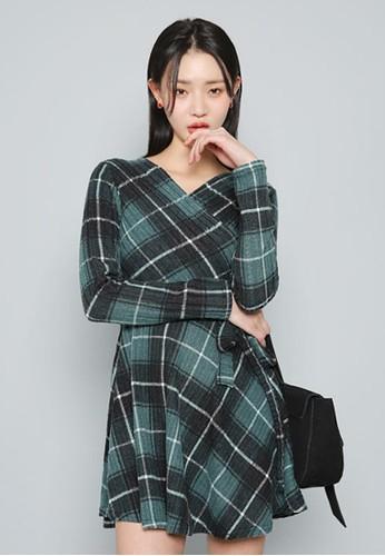 包裹式zalora 台灣門市格子迷你連衣裙, 服飾, 短洋裝