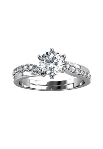 Her Jewellery silver CELÈSTA Moissanite Diamond - Les Solitaire Ring (925 Silver with 18K White Gold Plating) by Her Jewellery 875B6ACBE64384GS_1