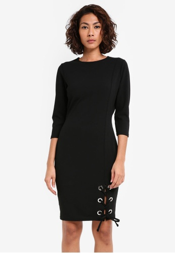 Dorothy Perkins black Eyelet Hem Tie Bodycon DO816AA0SKRQMY_1