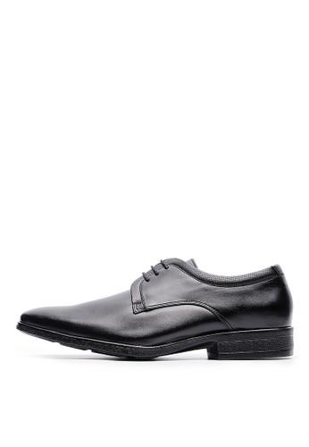 MIT緩衝抗震。頭層esprit outlet 桃園牛皮沖孔休閒皮鞋-04711-黑色, 鞋, 皮鞋