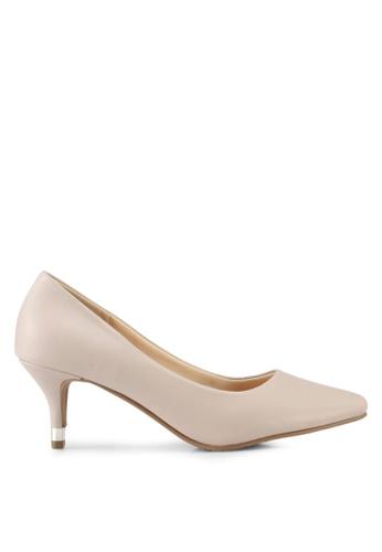 VINCCI beige Pointed Toe Pump Heels 346A2SHC183406GS_1