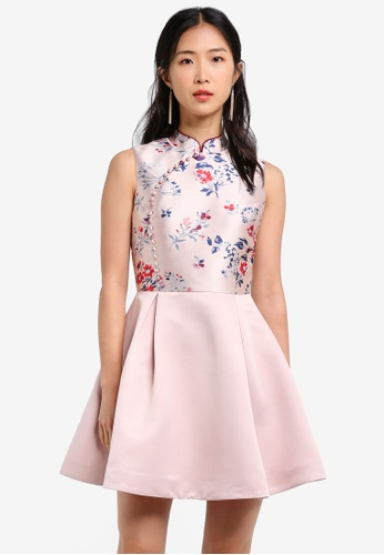 ZALORA pink Mandarin Collar Fit & Flare Dress DE782AAFBCE7C2GS_1