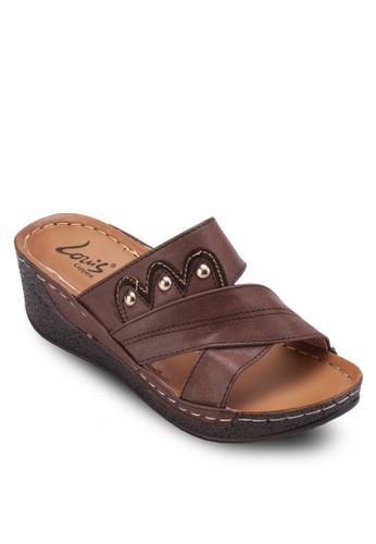 交叉寬帶厚底涼鞋, 女鞋, esprit門市地址楔形涼鞋