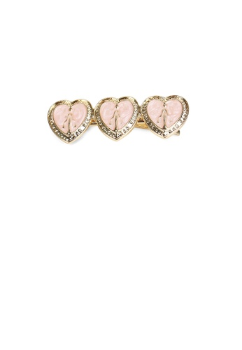Glamorousky silver Fashion Simple Plated Gold Pink Heart-shaped Hair Clip BC8D0AC71DD626GS_1