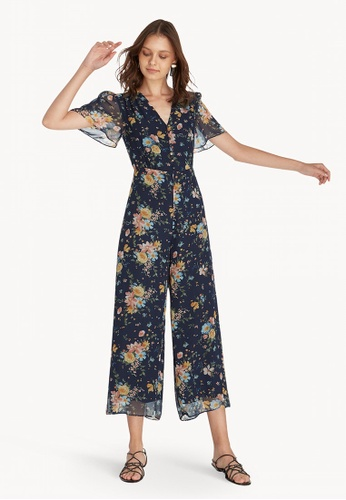 ad85224089a1 Shop Pomelo Floral Butterfly Sleeve Jumpsuit - Navy Online on ZALORA  Philippines