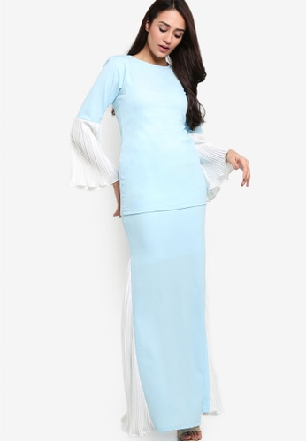 Titthonia Pleated Pastel Kurung Moden from RekaReka in White and Blue