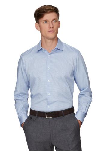 T.M. LEWIN blue [T.M.Lewin] Dobby Check Slim Fit Blue Single Cuff Shirt 3A5D4AAB86C6F6GS_1