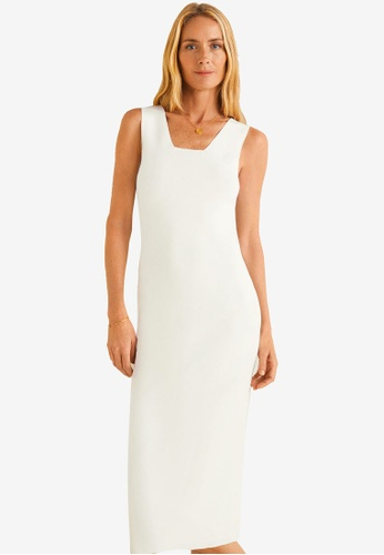 Mango white Fitted Midi Dress 202FBAA06A3F73GS_1