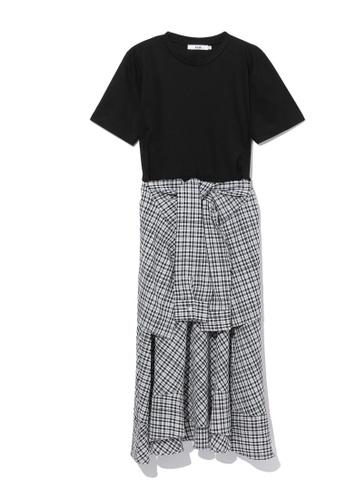 b+ab black Pattern print hem dress 3BC98AA0DCFD88GS_1