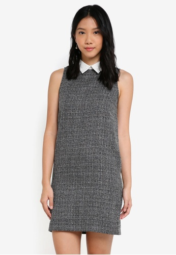 ZALORA grey and white Lace Collar Dress 1C8D7AA67B49E3GS_1